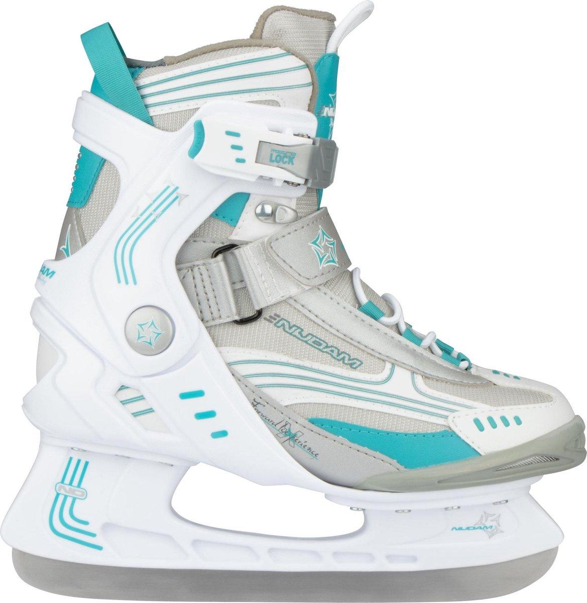 Nijdam 3353 Ijshockeyschaats - Semi-Softboot - Wit/Turquoise - Maat 43
