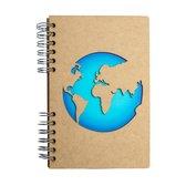 KOMONI - Duurzaam houten Bullet Journal - Gerecycled papier - Navulbaar - A5 - Stippen -  Reisdagboek Wereld