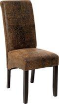 TecTake - Design eetkamerstoel, bruin, antiek suede lederlook - 401484