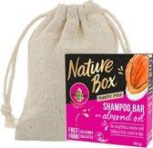 Nature Box | Shampoo Bar| Almond| Voor gewichtloos Volume + Linnen Zeepzakje