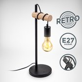 B.K.Licht - Tafellamp - zwart - retro - industrieel - hout - slaapkamer lamp - bedlamp - excl. E27