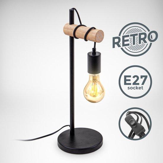 B.K.Licht - Tafellamp - industrieel - hout - zwart - vintage - retro - slaapkamer lamp - woonkamer lamp - leeslamp - excl. E27