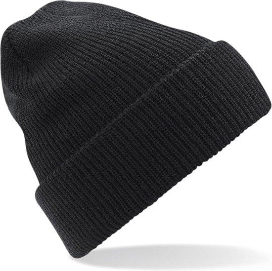 Gebreide Heritage Beanie wintermuts in het zwart voor volwassenen - Damesmutsen / herenmutsen - 100% polyacryl