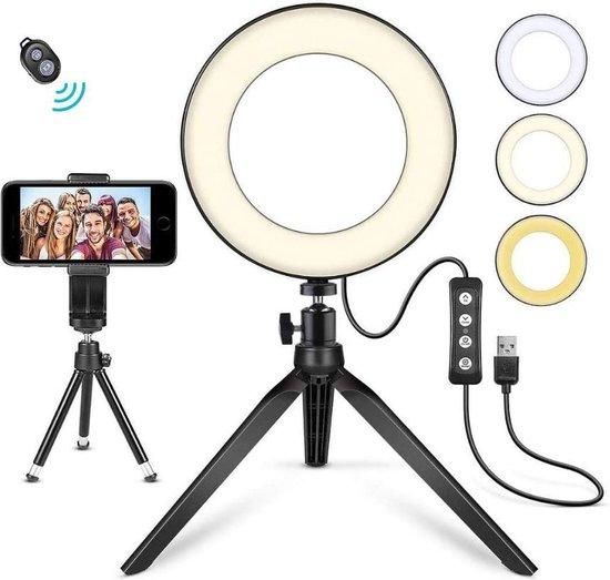 URGOODS® LED Ringlamp met Statief Smartphone - Ring Lamp - Ringflitser USB - Ringlight - 3 Licht niveaus - Tik Tok