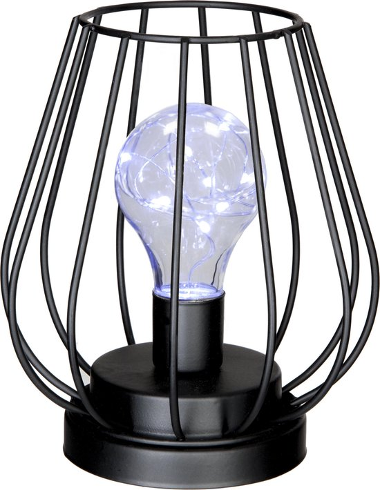 Atmosphera Art Deco tafellamp - zwart ijzerdraad model - incl. ledlamp