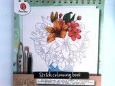 Decotime schets-kleurboek - 250 GSM schetspapier - Bloemen  schetsboek voor volwassenen | Kleurboek voor volwassenen | Schetsen | Tekenen | Stiften |