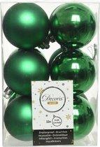 12x Kerstgroene kunststof kerstballen 6 cm - Mat/glans - Onbreekbare plastic kerstballen - Kerstboomversiering kerst groen