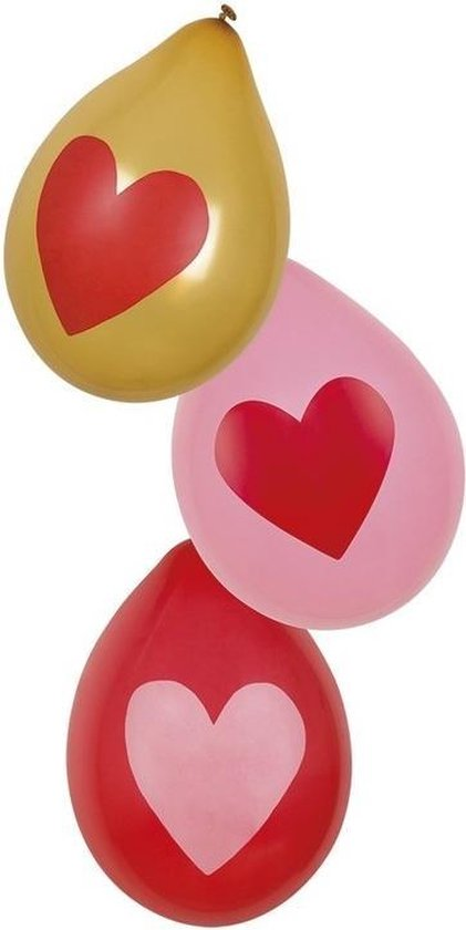 Hartjes thema ballonnen 12x stuks in diverse kleuren feestartikelen en versiering - Liefde/Valentijn