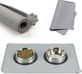 Fuzly - Silicone placemat voor voerbakken - Grijs - Antislip, Waterafstotend - Hond & Kat - 48x30cm