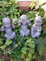 Boeddha beeld Shaolin horen,zien en zwijgen voor binnen of buiten 15x11x10 cm