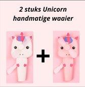 Unicorn Toys - 2 stuks Eenhoorn speelfiguren handventilator - Roze en wit