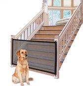 Luxe oprolbaar hondenhek - 110x72 cm - traphekje zonder boren - opvouwbaar baby traphek - hondenhekje - traphekje klembevestiging - veiligheidshek - deurhekje - zwart honden hek - kind - kleuter - puppy hekje - hondenmand