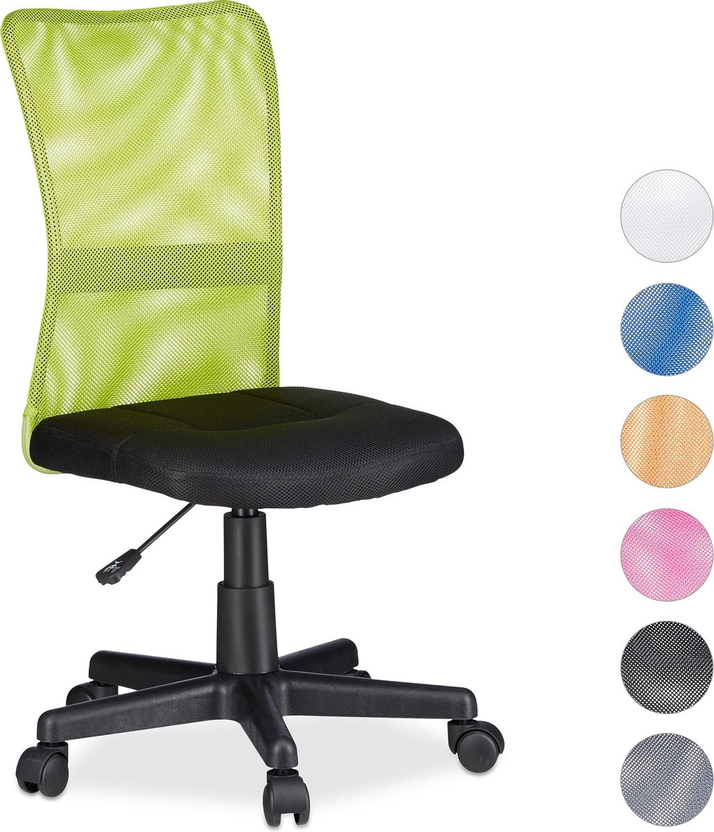 Relaxdays Bureaustoel voor kinderen - Ergonomisch - 90kg - Groen