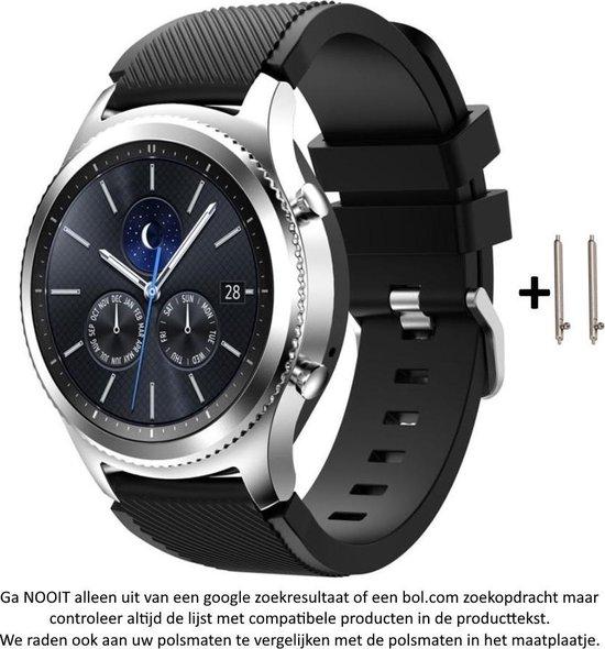 Zwart Siliconen Bandje voor 22mm Smartwatches van Samsung, LG, Seiko, Asus, Pebble, Huawei, Cookoo, Vostok en Vector – 22 mm rubber smartwatch strap - Gear S3 - LG Watch