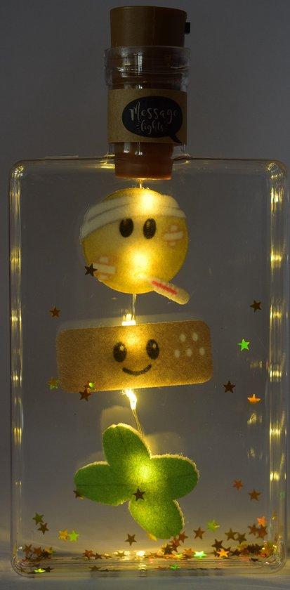Messagelights - Beterschap met verlichting op batterijen in een flesje briefkaart