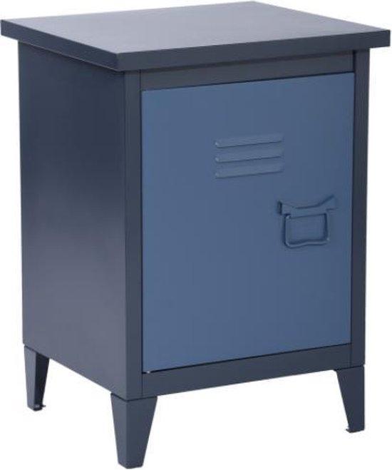 Evella Living - Nachtkastjes - Opbergkast met deur - Blauw - Basic design - Metaal - 40x35x60.5