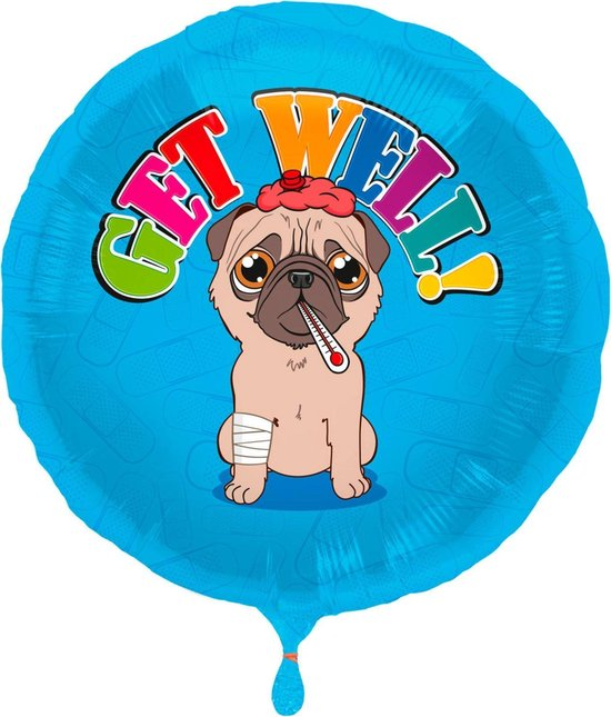 Folat Folieballon Get Well 45 Cm Blauw