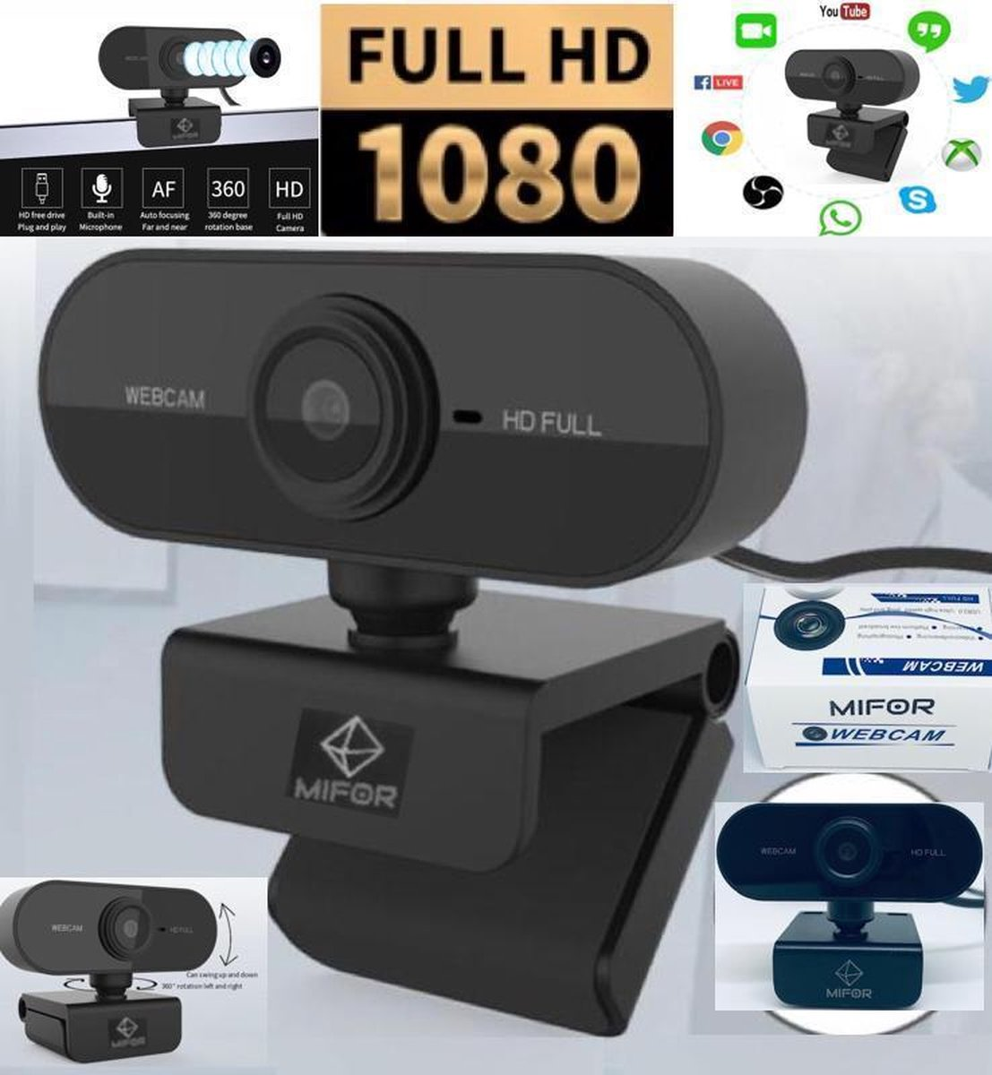 MIFOR® 2020 Full HD 1080p Autofocus Webcam met Microfoon - Webcam voor PC - Noise Cancelling