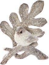 Goodwill Kerstbal Vogel op blad Natural-Wit 11.5 cm