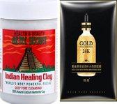 Aztec Secret Indian Healing Clay Gezichtsmasker 735 g. Calcium Bentoniet klei gezichtsmasker om alle mee-eters te verwijderen. Helpt om verstopte poriën te verschonen. 24K Gold Essence Serum Face Sheet Mask.