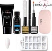 Bomba Nails® Poly Gel kit - Incl. Lamp - Nageltips - Nagelvijl - Wit