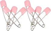 4 veiligheidsspelden met beschermkap - licht roze - 5,4 cm - baby safety pins - pink rose