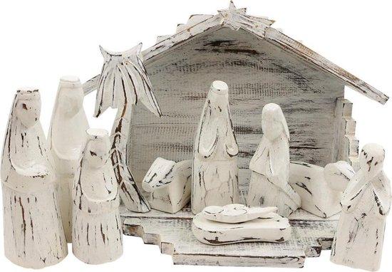 Houten Kerststal Wit (36 x 25 cm)