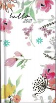 Agenda Flowers Wit - Pocket 2021 - 8,5x15,5cm - 1week/2pagina - Hardcover
