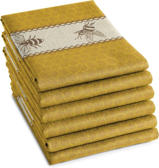 DDDDD Bees - Theedoek - Yellow - 6 stuks