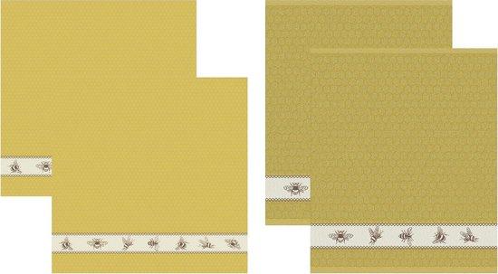 DDDDD Bees - 2 Theedoeken & 2 Keukendoeken - Yellow