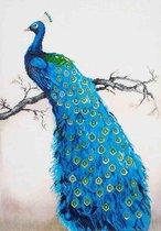Diamond Painting Volwassenen - Ronde Steentjes - Volledig Pakket - Hobby - Diamond Dotz® - DD13.012 - Dieren - Blauwe pauw op een tak 84 x 60cm
