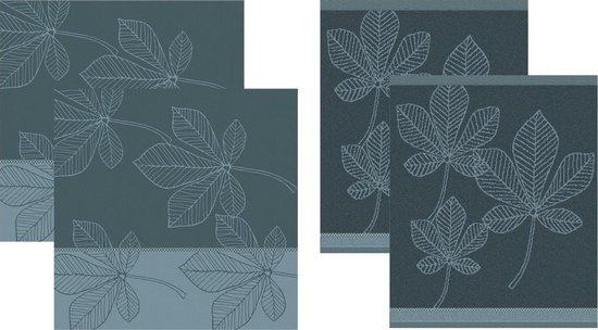 DDDDD Leaves - 2 Theedoeken & 2 Keukendoeken - Atlantic Blue
