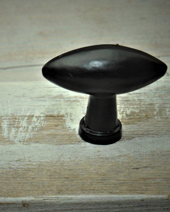 Harvey's Home, Kastknopjes, set van 2, Zwart gietijzer, Ovaal, Br. 3,5 cm, komt 3,5 cm naar voren.