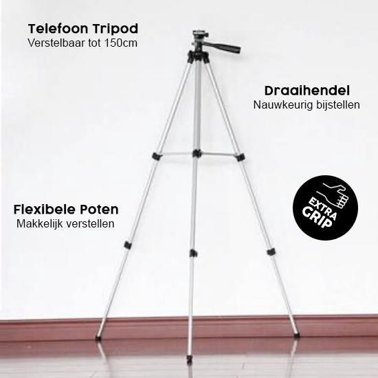 FEDEC Telefoon Tripod - Telefoonstatief - Verstelbaar tot 150 CM - Extra grip telefoonhouder - Waterpas - Opbergzak