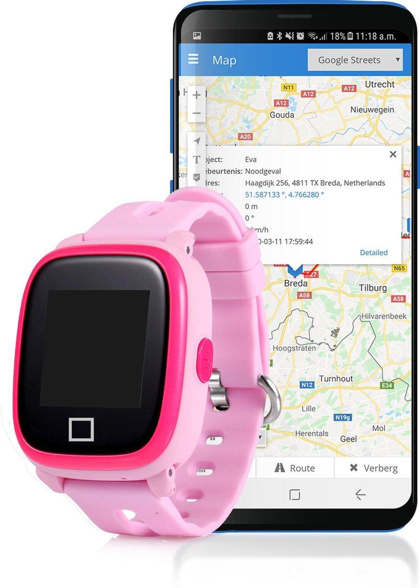 Personenalarmering SOS-Noodknop GPS tracker horloge voor kinderen met APP en Simkaart - Compleet geinstalleerd! - Roze