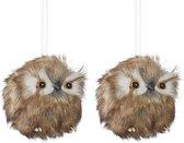 Kerstboomversiering 2x bruine uilen kersthangers 8 cm - Kerstversiering/kerstornamenten