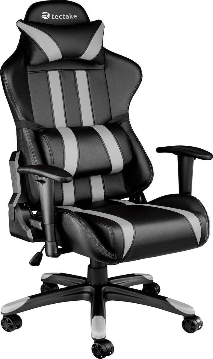 TecTake Gaming Chair Bureaustoel - Premium Racing - Zwart/Grijs - Kunstleer - Verstelbaar