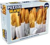 Puzzel 1000 stukjes volwassenen Stokbrood 1000 stukjes - Stokbroden in een bakkerij  - PuzzleWow heeft +100000 puzzels