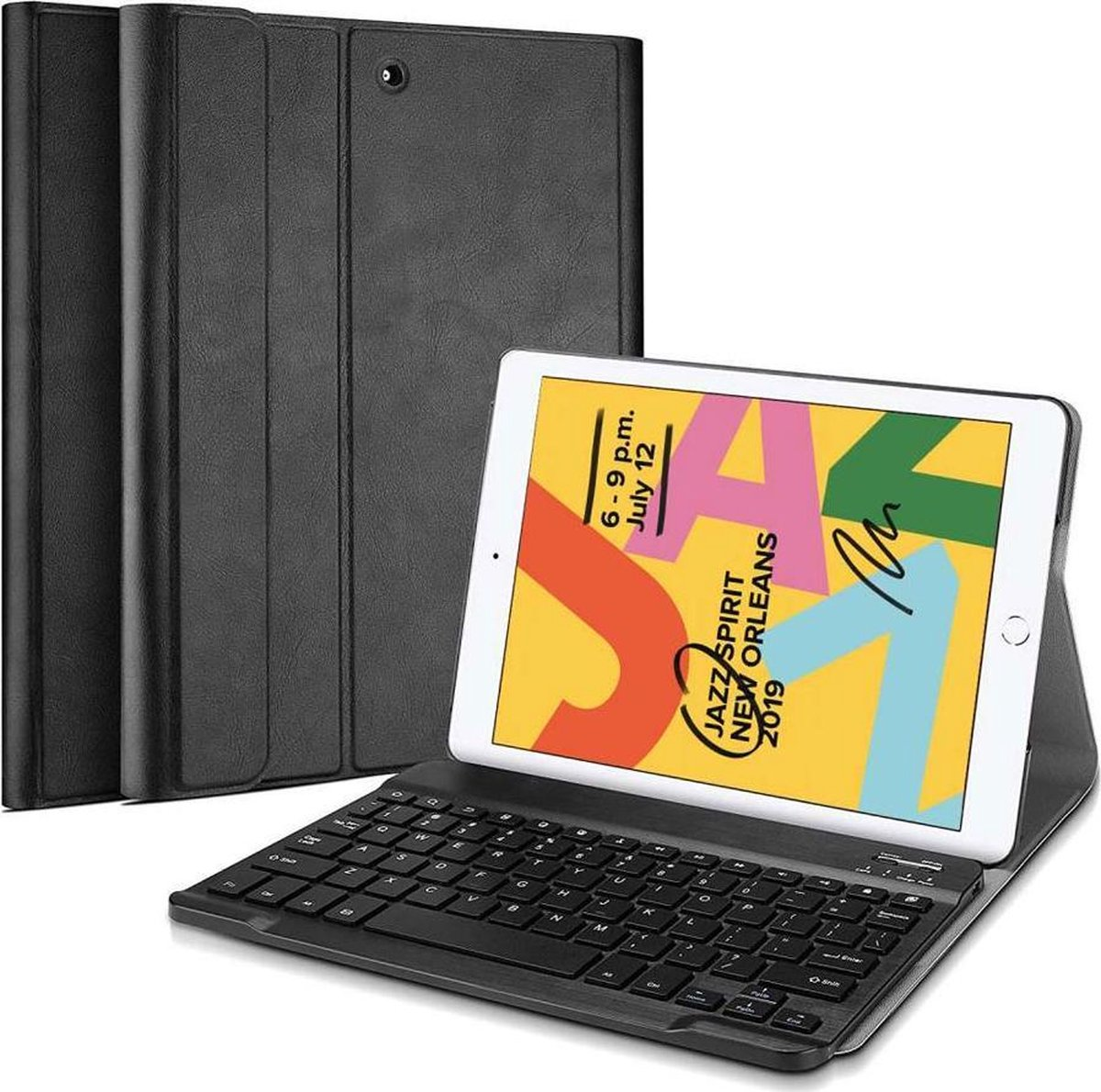 iPad 10.2 (2020)iPad 10.2 (2019) Toetsenbord Hoes hoesje Just in Case Effen Zwart Kunstleer