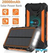 FMF - Solar - QI Wireless - Powerbank - 20.000 mAh - Verlichting - Zonne-energie - USB oplader - Outdoor