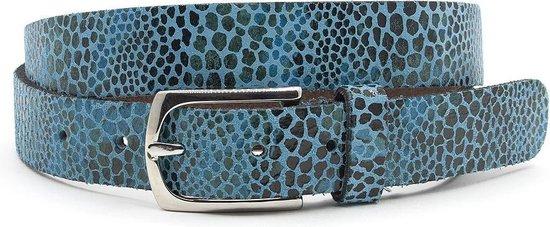 Dames ceintuur blauw leopard