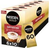 Nescafé Gold Cappuccino ongezoet oploskoffie - 6 doosjes à 10 zakjes