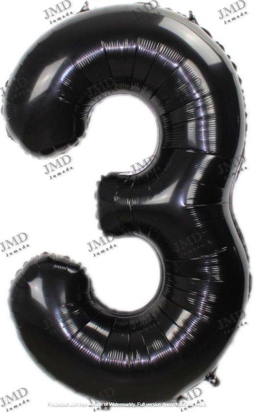 Folie ballon XL 100cm met opblaasrietje - cijfer 3 zwart - 3 jaar folieballon - 1 meter groot met rietje - Mixen met andere cijfers en/of kleuren binnen het Jumada merk mogelijk
