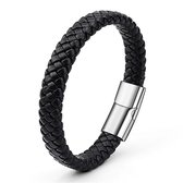 Joboly Stoere platte brede mannen / heren armband gevlochten met handige sluiting - Heren - Zwart - 20 cm