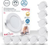 B.K. Licht - LED Spots - badkamer- inbouwverlichting - ultra plat - wit - IP44 - 3.000K - 6W LED
