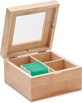 Bamboe theedoos 4 vaks - Theekist met transparante deksel - Geschikt voor 24 theezakjes