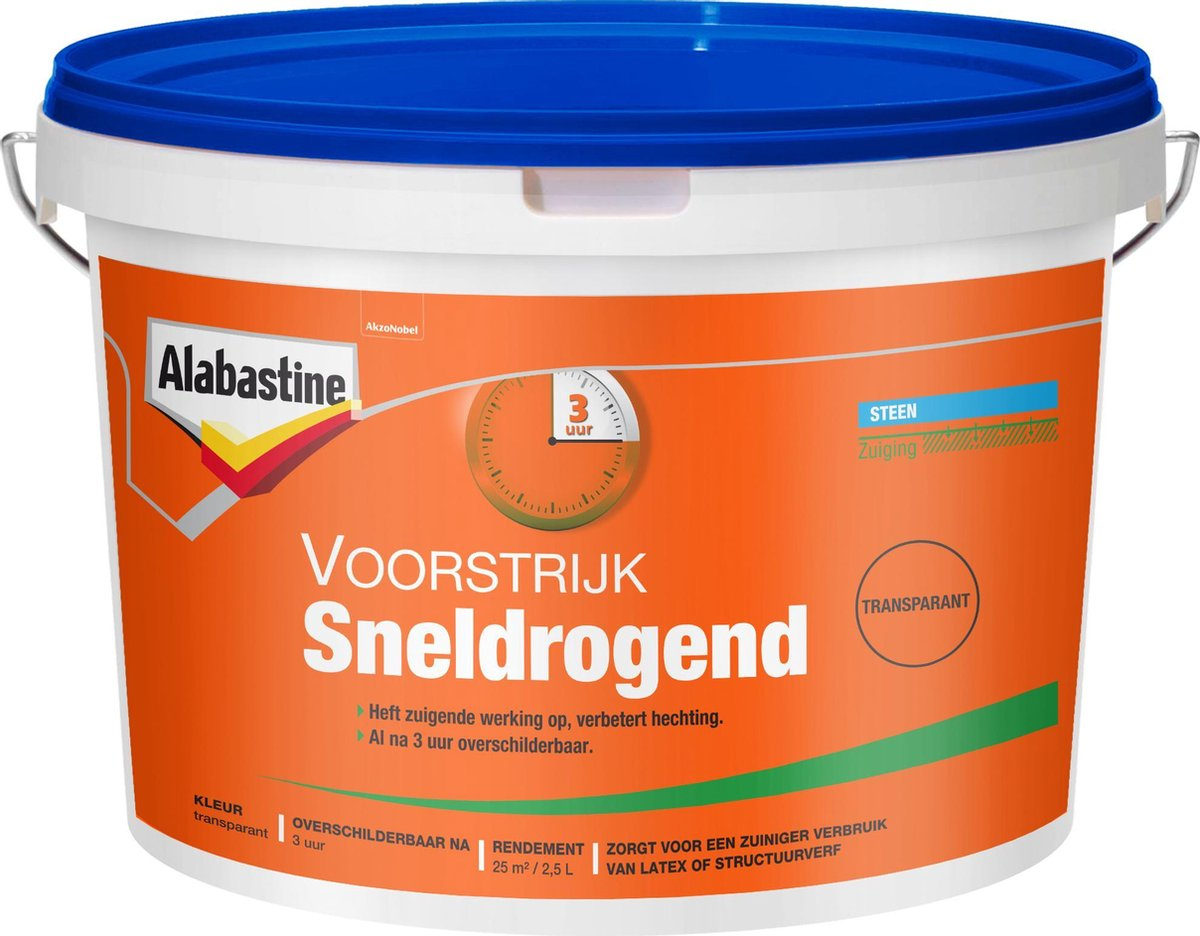 Alabastine sneldrogende voorstrijk transparant - 2,5 liter - Alabastine