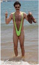 Mankini Borat | Mannen String Neon Groen | Verkleedkleding Volwassenen Borat