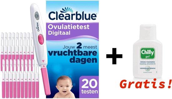 Clearblue Digitaal Ovulatietestset (OVS) met 20 testen + 1x CHILLY WASEMULSIE GEL GRATIS