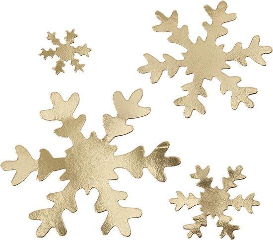 Sneeuwvlok. goud. d: 3+5+8+10 cm. 350 gr. 16 stuk/ 1 doos
